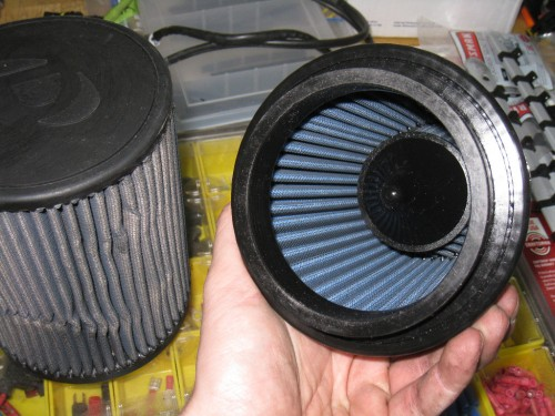 Inside of filter, showing inverted cone.