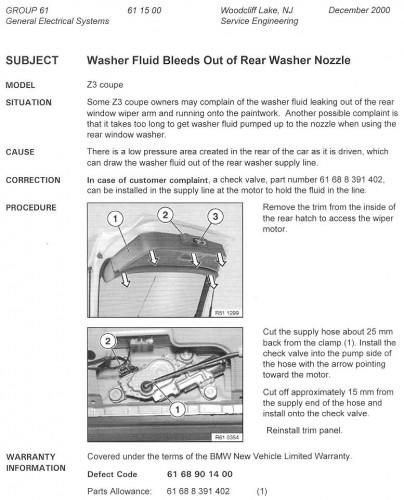 Rear wiper leak fix