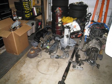 Pile of parts removed from car