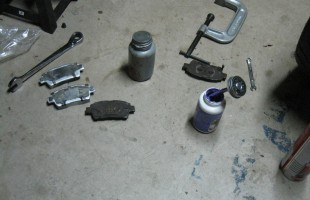 Some of the tools for a brake job