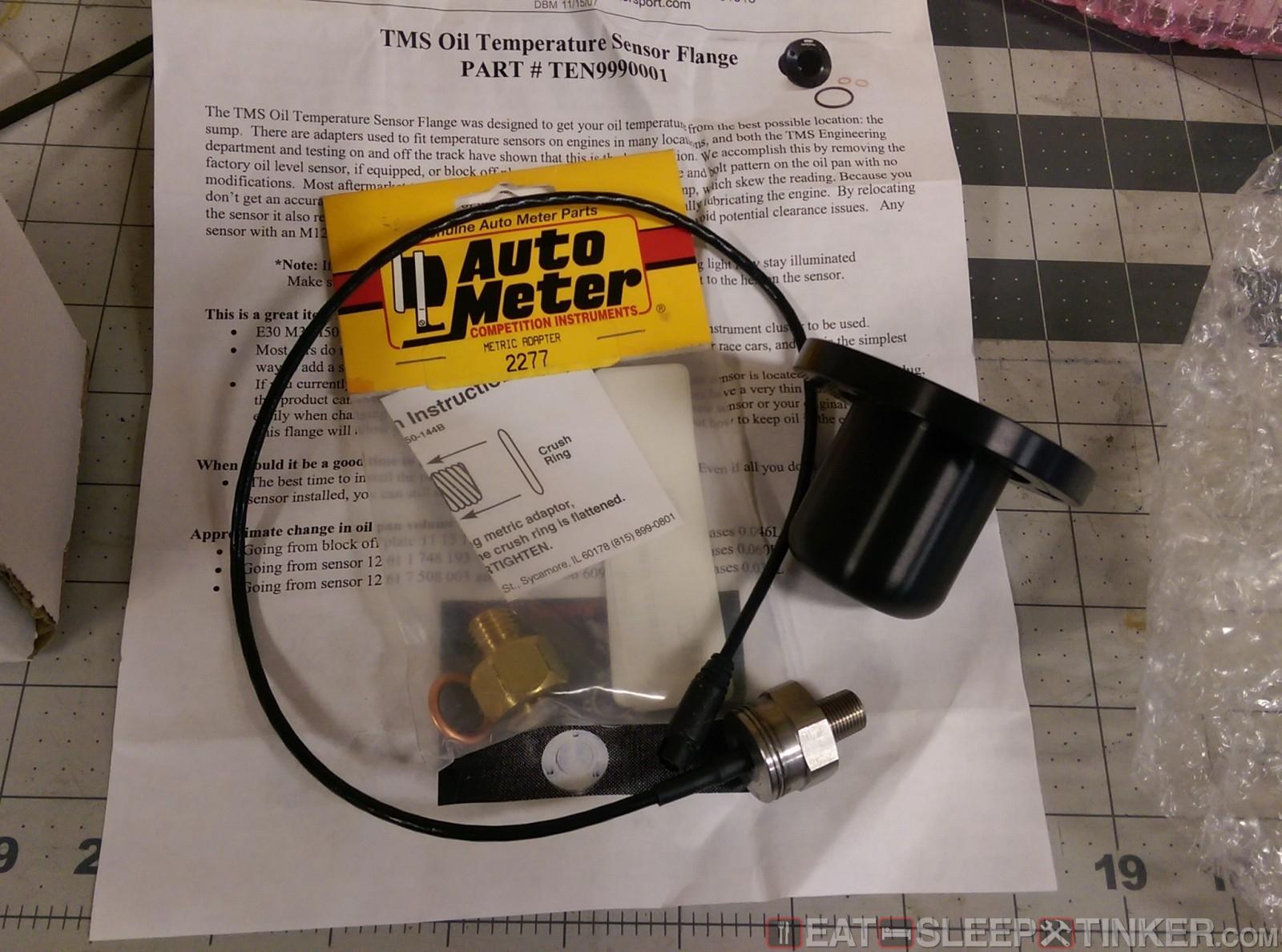 Eat Sleep Tinkercustom Oil Temp Sensor For Aim Mxl Gm Coolant Wiring Tms Flange Adapter And