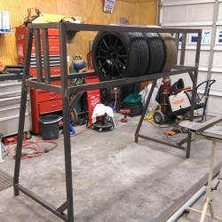 Tire rack in progress