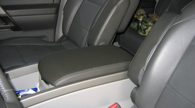 Leather console cover from an Infiniti QX